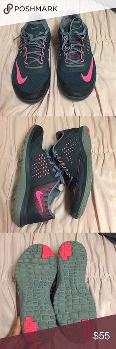 Nike Running Shoes Size 9.5 women. Pink Check Mark. I wore 3 times.  New condition. No odor. Very comfortable. Beautiful colorway. I already have the same shoe in my closet so I need to get rid of this one. Nike Shoes Athletic Shoes