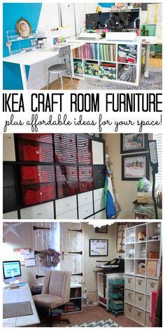 IKEA Craft Room Furniture: Affordable Options - IKEA craft room furniture – includes affordable ideas for any craft space! Ikea Craft Storage, Craft Storage Furniture, Ikea Craft Room, Small Craft Rooms, Craft Room Decor, Diy Kitchen Storage, Diy Home Decor, Smart Storage, Fabric Storage