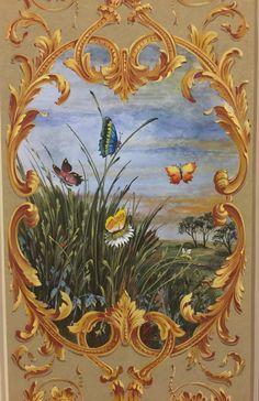Tempera painted decorative panel with Natural pigments Decorative Panels, Decorative Paintings, Acanthus, Tempera, Japanese Art, Art Decor, Cross Stitch, Sculpture, Artist