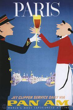 Aaron Fine - Original Vintage Pan American World Airways Travel Poster - Pan Am Paris France - - Paris Poster, Poster Ads, Art Posters, Advertising Poster, Travel Ads, Paris Travel, France Travel, Paris Vintage, Paris Art