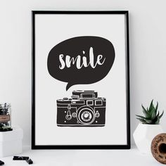 'Smile' Camera Black And White Typography Print by The Motivated Type, the perfect gift for Explore more unique gifts in our curated marketplace. Typography Prints, Typography Poster, Hand Lettering, Typography Quotes, Inspirational Words Of Wisdom, Inspirational Posters, Motivational Quotes, Funny Quotes, Selfies