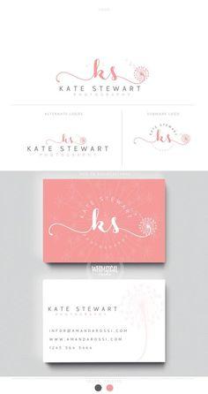 dandelion initlas 2 brush rose initials businesscards simple modern feminine branding- logo Identity artist makeup wedding photographer