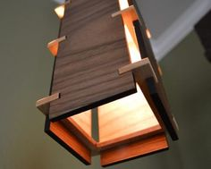 Square Wooden Pendant Light