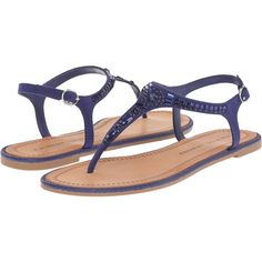 Chinese Laundry Genya (Indigo Micro Suede) Women's Shoes featuring polyvore, women's fashion, shoes, sandals, blue, synthetic shoes, jeweled shoes, blue shoes, blue jeweled sandals and blue suede sandals