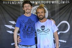 Australian singer-songwriter and multi-instrumentalist Xavier Rudd - Official in his tie-dye tee from Sea Shepherd Australia store with Captain Peter Hammarstedt