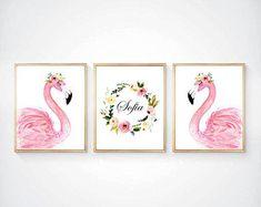 17 ideas baby room pink coral nursery for 2019 Flamingo Nursery, Coral Nursery, Flamingo Painting, Flamingo Decor, Pink Flamingos, Nursery Prints, Nursery Art, Tropical Nursery, Blush Nursery