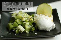 Karkkipäivä: Limemarinoidut kiivit ja kookoskermavaahto (viljaton, luonnollisesti makeutettu, maidoton, munaton, pähkinätön)