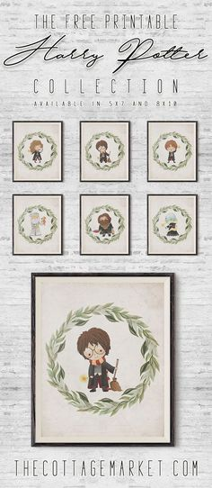 Here is our set of 6 Free Printable Harry Potter Prints. We are offering them in 8X10 and 5X7! Drop by The Cottage Market and snatch up Harry and 5 more of his friends. Perfect for a Gallery Wall, Great Children's Room Artwork. Fabulous Free Wall Art! Fabulous Free Printables! They are magical!