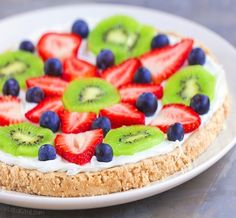 A soft sugar cookie crust, creamy homemade frosting, and all the fresh berries – this delicious fruit pizza will be the star of any party!