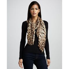 YIKES--Roberto Cavalli Leopard-Print Stole ($315) found on Polyvore. LOVE BUT PRICEY!!