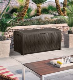 USA-Made Resin Wicker Deck Outdoor Storage Box & Suncast 60 gal Outdoor Storage Cube (BMDB60) - Storage Sheds u0026 Deck ...