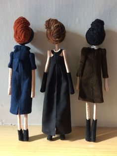 Three dolls by Sarah Strachan. These three are for sale, you can find the link to my shop in my bio. Soft Dolls, Uk Shop, Softies, Fur Coat, Plush, Etsy, Handmade Dolls, Nice Things, Divas