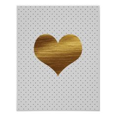 Gold Heart With Black and White Polka Dots Print