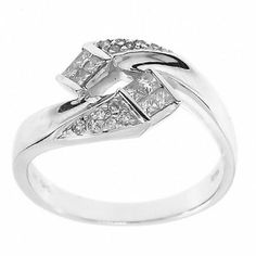 0.30 Cttw Diamond Cocktail Ring in 14K White Gold by GetDiamondsDirect on Etsy