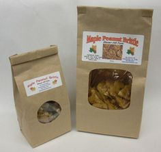 10 oz bag or 6 oz bag of Maple Peanut Brittle. Ingredients: sugar, peanuts, corn syrup, maple syrup, water, butter, and baking soda