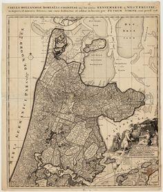Kaart van Noord-Holland in 1708. Vervaardiger: P. Schenk Catalogusnummer: PR1005170