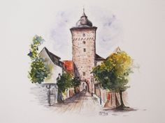 Original Watercolor Painting Of The Tower In Durlach, Karlsruhe, Germany by StremArt on Etsy