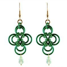 St. Patrick's Day Chainmaille DIY Jewelry | Green Clover Earrings | Blue Buddha Boutique