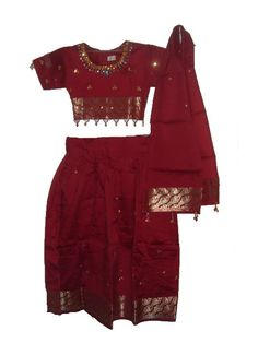 Maroon South Indian outfit for kids.  Pattu pavadai / pattu langa for kids.