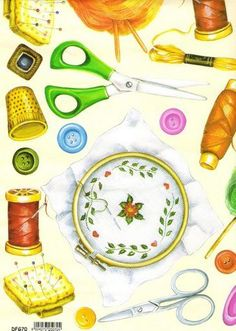 Repassando!: Imagens para decupagem II Sewing Art, Love Sewing, Sewing Rooms, Sewing Clipart, Page Borders Design, Sewing Baskets, Sewing Class, Vintage Couture, Hobbies And Crafts