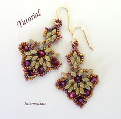 Pattern for beadwoven earrings beading tutorial - superduo seed bead beadweaving beaded jewelry instruction - CIGALE on Etsy, $5.50