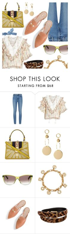 """""""Ruffles & Mules"""" by stacey-lynne ❤ liked on Polyvore featuring Paige Denim, Opening Ceremony, Gucci, Balmain, Tory Burch, Stuart Weitzman, Yves Saint Laurent and Colette Malouf"""