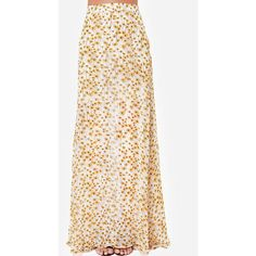 White Daisy Floral Print High Waist Chiffon Maxi Skirt ($21) ❤ liked on Polyvore featuring skirts, white, floral maxi skirt, high waisted maxi skirt, floral print maxi skirt, long white skirt and long floral skirts