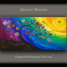 Original large surreal painting Fancy Blossom tree art Impasto  acrylic texture sunset landscape painting Modern deco by tim lam 48x24.  via Etsy.