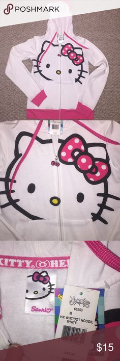 HELLO KITTY ZIP UP HOODIE- NWT Hello kitty zip up hoodie - New with tags   please note small soiling on sleeve in picture 4-  Will probably come out in the wash Sanrio Tops Sweatshirts & Hoodies