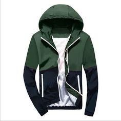 Men's Fashion Thin Windbreaker Jacket Zipper Coats