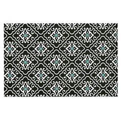 KESS InHouse Heidi Jennings 'Black Blue Geometric' White Dog Place Mat, 13' x 18' ** Startling review available here