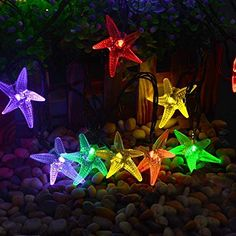 lederTEK Starfish Solar Powered Christmas Lights Multi-color 30 LED 20ft 8 Modes Waterproof Novelty Fairy String Light for Garden, Lawn, Patio, Xmas Tree, Home, Bedroom Decorations, Indoor, Outdoor - Features: 1.Environment-friendly products, high energy conversion rate. 2. Put under sunshine during the day, and it will light up at night. 3. It varies with the intensity of sunlight, user's geography locations, weather conditions and shift of seasons. 4. Put on wall, win