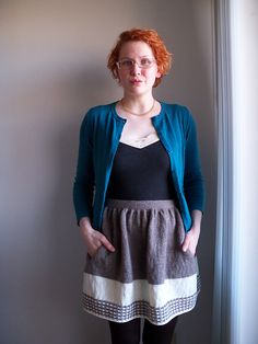 Ravelry: New Girl pattern by Allyson Dykhuizen Tights And Boots, Zooey Deschanel, Blue Cardigan, Cute Skirts, New Girl, Wearing Black, Knitwear, Cute Outfits, Knitting