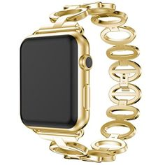 Womail Metal Chain Style Stainless Steel Bracelet Quick Install Replacement Watch Band Strap  Tool For Apple Watch 1/2 42mm (Gold) ** Visit the image link more details. (This is an affiliate link) #ClipsArmWristbands