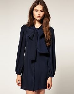 ASOS Mini Pussybow Shirt Dress with Shirred Cuffs