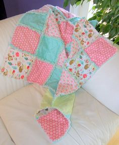 Homemade Baby Quilt Baby Rag Quilt Coral Baby by QuiltedRhymes