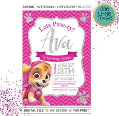 ♥️ Paw Patrol Invitation ♥️ Bring your Paw Patrol party to life with these custom invitations. ::::::: no physical product will be shipped, this is a digital file for DIY :::::: The file can then be printed from home, printed at a online photo processing center or emailed to your guests, -------------- ★★★ HOW TO ORDER ★★★ -------------- Purchase this item During checkout in the notes to seller section please provide the following information 1) Name & Age 2) Party Date 3) Time