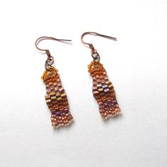 Copper Freeform Earrings   Copper Beaded Earrings by playnwithbeads on Etsy