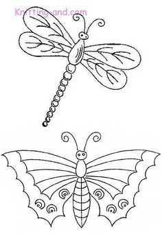 dragonfly and butterfly #stencil #pattern #stencils #printable #clipart