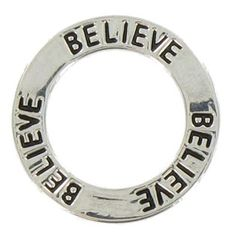 """Faith provides a strong foundation. Celebrate it with this Rhodium Believe Affirmation Ring Charm! This silver charm features a simple ring shape and etched black text. Attach this fun charm to a handmade gift or an accessory for yourself!        Dimensions:      Diameter: 3/4"""""""