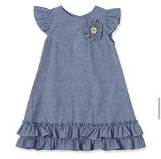 Look what I found on Flower Appliqué Ruffle Denim Dress - Infant Baby Frocks Designs, Kids Frocks Design, Baby Dress Design, Frock Design, Little Girl Outfits, Kids Outfits, Frock Patterns, Baby Girl Patterns, Cute Girl Dresses