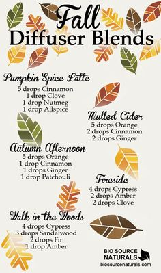 Get the comforting smell of fall in your house with these delicious fall diffuser blends! #aromatherapy                                                                                                                                                     More