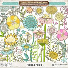 Graphics for Commercial Use - Wild Flower ClipArt - Bohemian Flowers & Foliage Clip Art - Leaves - Daisy - Hydrangea - Doodled - Hand Drawn Digital Graphics for  - Instant Download by FishScraps