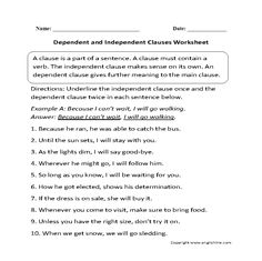 Dependent or Independent Clauses Worksheet | Englishlinx.com Board ...