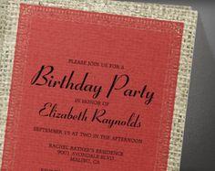 Black Red Vintage Burlap Birthday Party Invitation