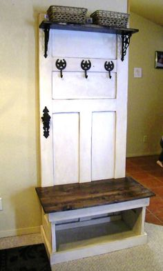Rustic Hall Tree Bench by WWRusticDesign on Etsy, $175.00
