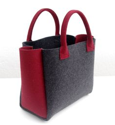 Charcoal Felt Shopper Gray and Burgundy Bag Felt by WeltinFelt