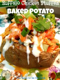 Buffalo Chicken Stuffed Baked Potato- What a great idea!