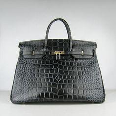 Hermes Birkin 40cm Crocodile Vein Handbags 6099 Black Golden