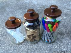 I love this idea because I hate getting rid of jars (it's an illness!) This would make them all coordinate and not look like just jars.